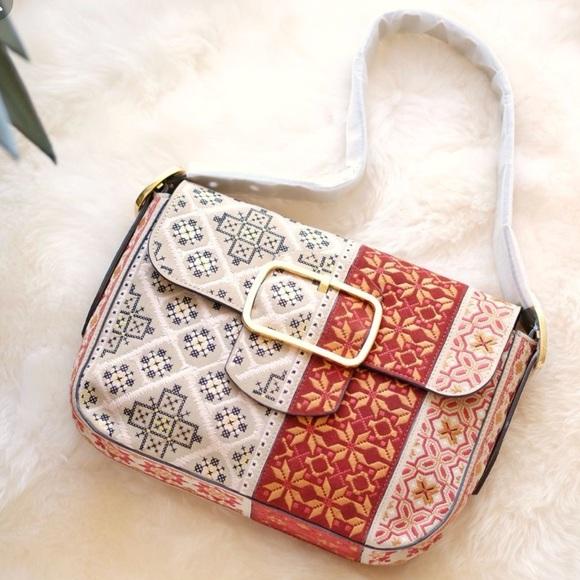 4a221eb5558e Tory Burch Sawyer Embroidered Bohemian Bag. M 5b7ca9d82beb79607c973915
